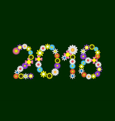 2018 flower numbers vector image