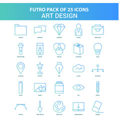 25 green and blue futuro art and design icon pack vector image