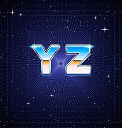 80s Retro Sci-Fi Font from Y to Z vector image