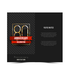 80th anniversary invitation card template vector