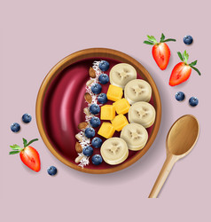 Acai smoothie bowl realistic mock up vector