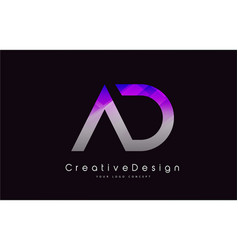 Ad letter logo design purple texture creative vector