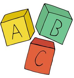 Alphabet bakwy cubes color in doodle style vector