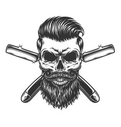 bearded and mustached barber skull vector image