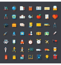 Big flat icons set vector image