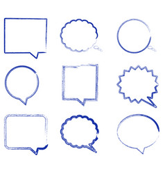blank empty speech bubbles in hand drawn style vector image