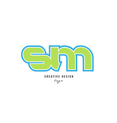 Blue green alphabet letter sm s m logo icon design vector