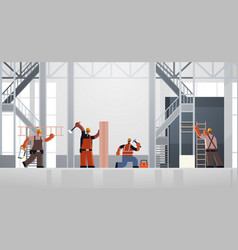 Builders using hammer and ladder busy workmen vector