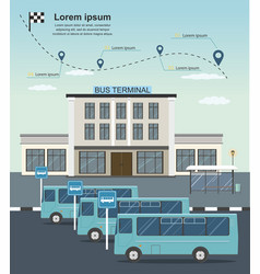 Buses at the bus terminal station transportation vector
