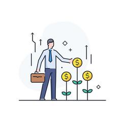 Businessman helps grow incomes achievements vector