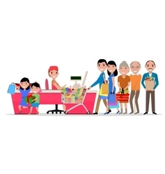 Cartoon people doing shopping supermarket vector