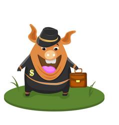 cartoon pig businessman waving hand cute pig vector image