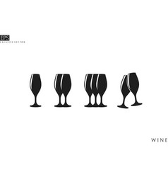 champagne flute icon set vector image