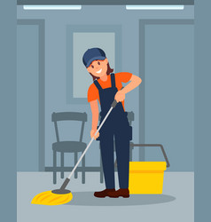 cheerful woman cleaning floor in corridor young vector image