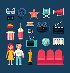 Cinema Concept Cinema Industry Symbols Young Man vector