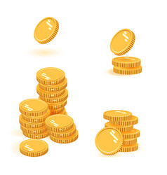 coins stack set icon flat vector image