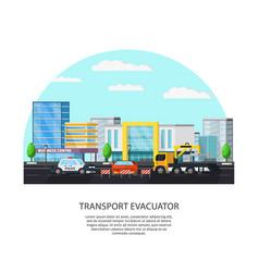 Colorful transport evacuator concept vector