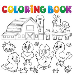 coloring book chickens and hen theme 2 vector image
