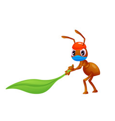 Covid19 19 a small ant with a face mask is vector