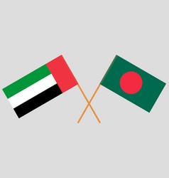Crossed flags bangladesh and united arab vector