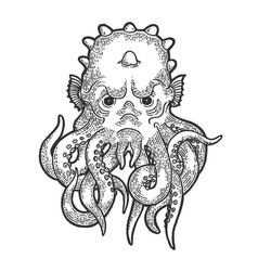 Cthulhu myth creature engraving vector