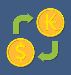 Currency exchange Dollar and Kip vector image