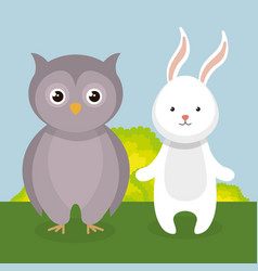 Cute rabbit and owl in the field landscape vector