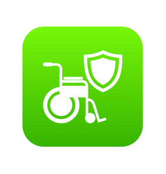 disability protection icon green vector image
