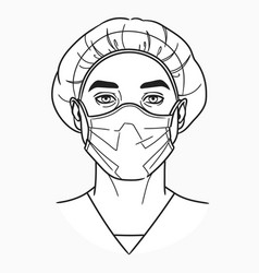 Doctor wears a medical mask vector
