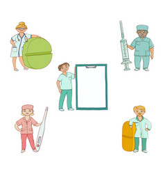 doctors therapists with giant medical objects vector image