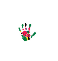 Dominica flag and hand on white background vector