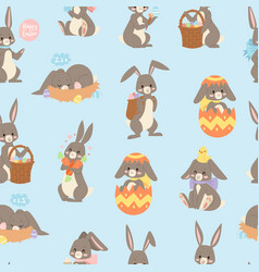easter rabbit seamless pattern background vector image