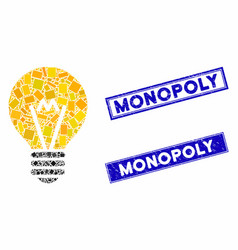 Electric bulb mosaic and grunge rectangle monopoly vector