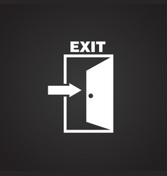 emergency exit on black background vector image