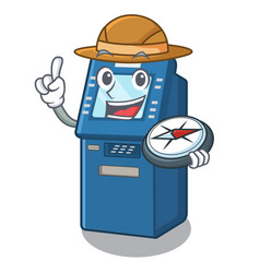explorer atm machine next to character table vector image