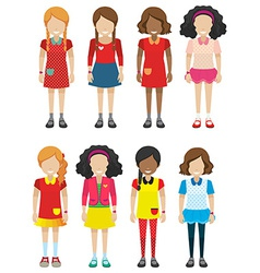 Faceless female kids vector image