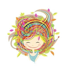 Funny smiling girl for your design vector