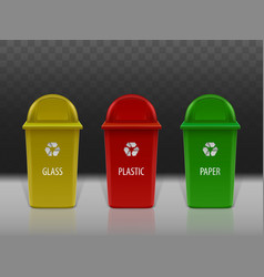 garbage recycling containers set eco litter bins vector image