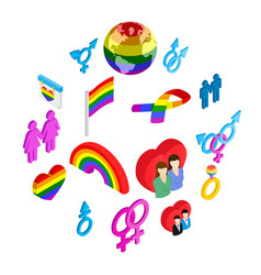gay pride isometric 3d icons vector image