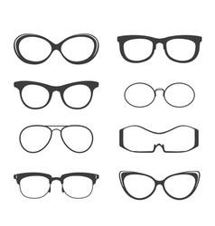 Glasses black silhouette set vector