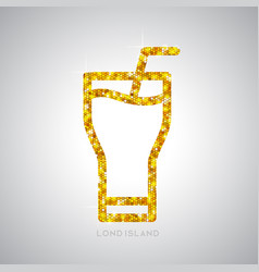 golden cocktail flat icon long island ice tea vector image