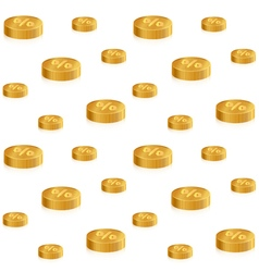 Golden isometric coins with percent on white vector