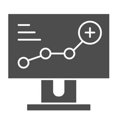 growth chart on monitor solid icon diagram on vector image