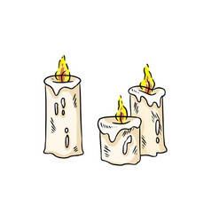 Hand drawn candles sticker isolated colorful vector