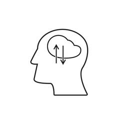 head with work icons come up idea vector image