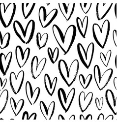 heart seamless pattern black ink brush hearts vector image