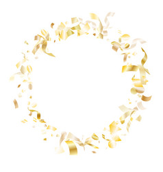 holiday realistic gold confetti flying on white vector image