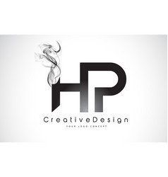 Hp letter logo design with black smoke vector