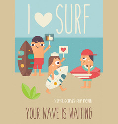 i love surf vector image