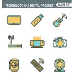 Icons line set premium quality of computer vector image